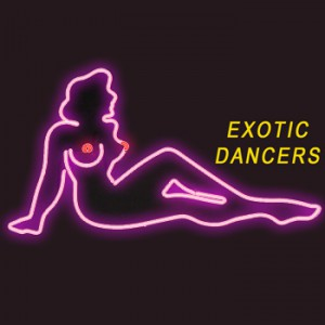 """EXOTIC DANCERS"" with Pink Mudflap Girl Leaning Back"