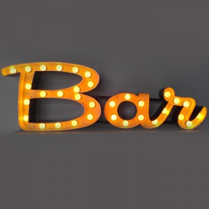 Bar channel letters with lightbulbs