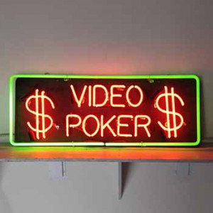 VIDEO POKER with dollar signs $