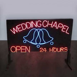 WEDDING CHAPEL OPEN 24 HOURS with animated bell