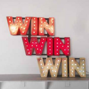 WIN WIN WIN channel-lettering