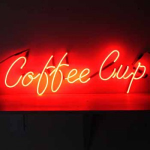 Coffee Cup red cursive