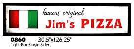 famous original Jim's PIZZA light-box light box Italian