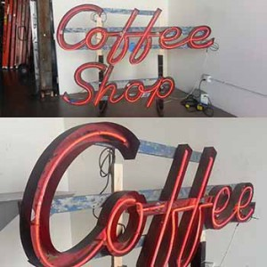 Coffee channel letters with neon