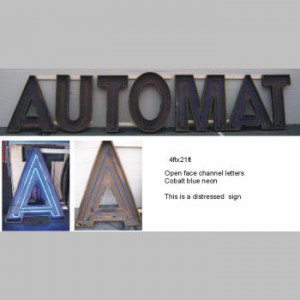 open face channel letter cobalt blue automat auto