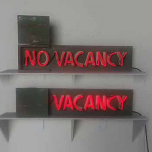 NO VACANCY with wooden flap