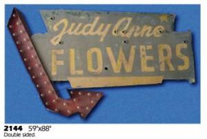 Flowers florist double sided arrow arrows 50's exterior