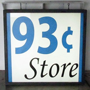 93¢ Store Ninety-Three Cents Store Lightbox