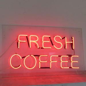 FRESH COFFEE - Clear Red Neon - Plex Backer