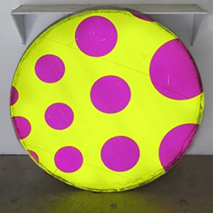 Yellow Circle Lightbox with Magenta Polka-Dots