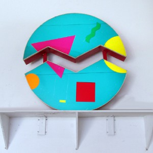 Divided Circle Lightbox with Abstract Face