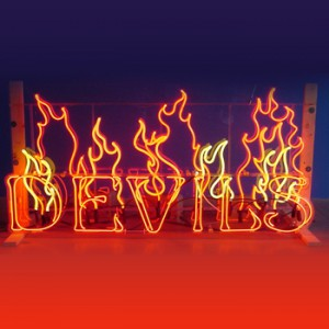 flames fire devil Halloween storefront