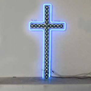 church cross light-bulbs with neon outline
