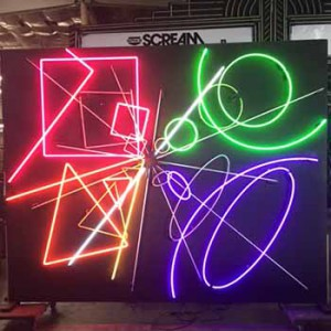 Chinese Asian neon walls art Korean animating free standing walls panel panels chasing shapes 70's 80's