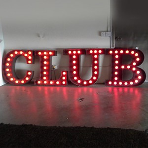 CLUB channel letters with lightbulbs