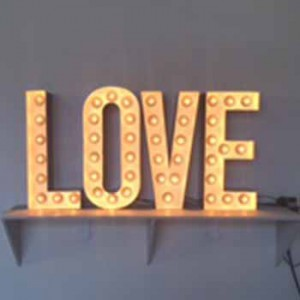 LOVE channel letters with lightbulbs
