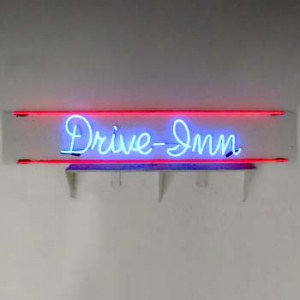 Drive-In blue and red neon white backing
