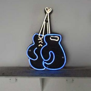 "Boxing Gloves blue ""hanging"""