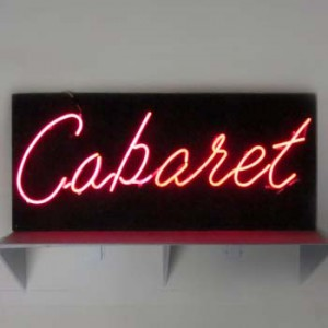 Cabaret on black wood backing
