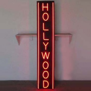 HOLLYWOOD red neon black backing