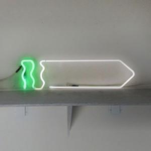 "Saw-Like ""Arrow"" White neon body with sea-foam green handle or ""tail"""