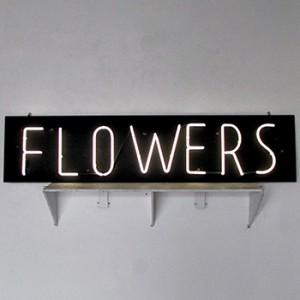FLOWERS - White Neon on Black MDO