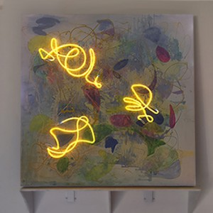 "Coiling yellow neon mounted to Original abstract painting - 48"" x 48"""