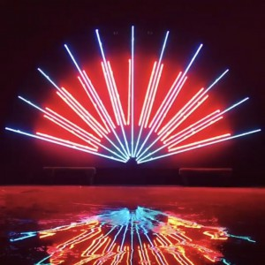 Neon Fan Straight Rods Clear Red Clear Blue Neon Argon Black MDO Wood Backer