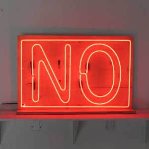NO - Clear Red Neon on Unfinished Plywood Backer