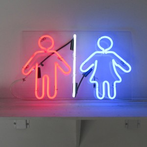 Men and Women Restroom Sign - Red White Blue