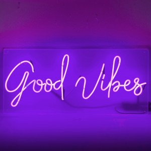 Good Vibes neon sayings positive quotes purple neon