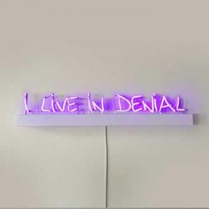 I Live In Denial purple neon art